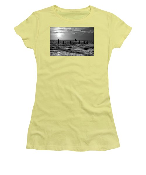 Women's T-Shirt (Junior Cut) featuring the photograph Golden Sunrise On The Outer Banks  Bw by Dan Carmichael