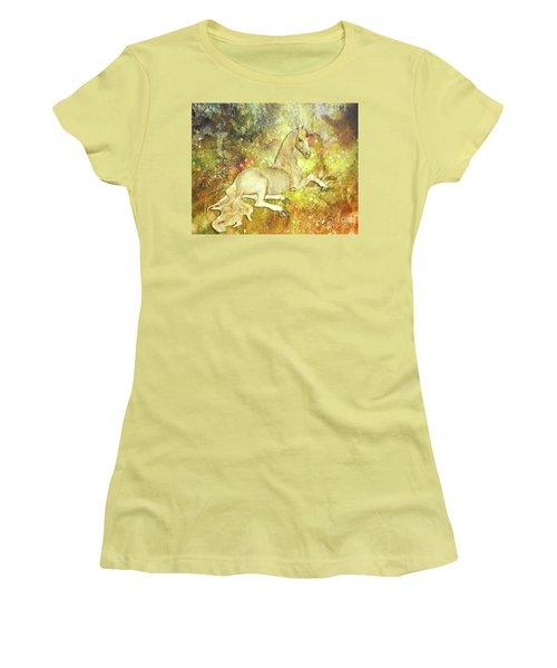Golden Unicorn Dreams Women's T-Shirt (Athletic Fit)