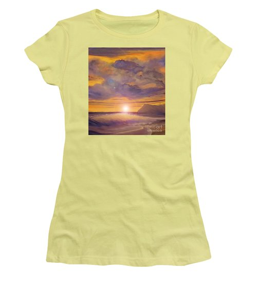 Women's T-Shirt (Junior Cut) featuring the painting Golden Wave by Holly Martinson