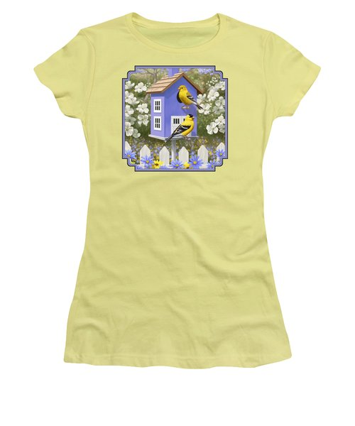 Goldfinch Garden Home Women's T-Shirt (Junior Cut) by Crista Forest