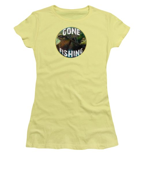 Gone Fishing Women's T-Shirt (Junior Cut) by Mim White