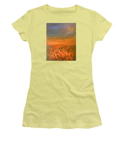 Women's T-Shirt (Junior Cut) featuring the painting Goodbye by Jane See