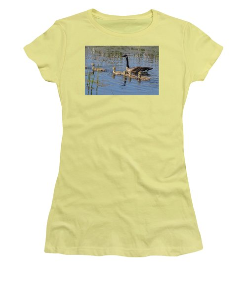 Goose And Goslings No.1867 Women's T-Shirt (Junior Cut) by Janice Adomeit