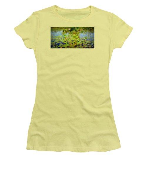 Gorham Pond Lily Pads Women's T-Shirt (Junior Cut) by Susan Lafleur
