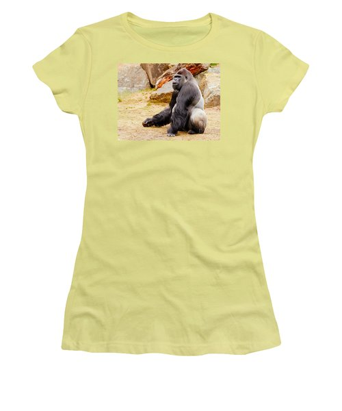 Gorilla Sitting Upright Women's T-Shirt (Athletic Fit)