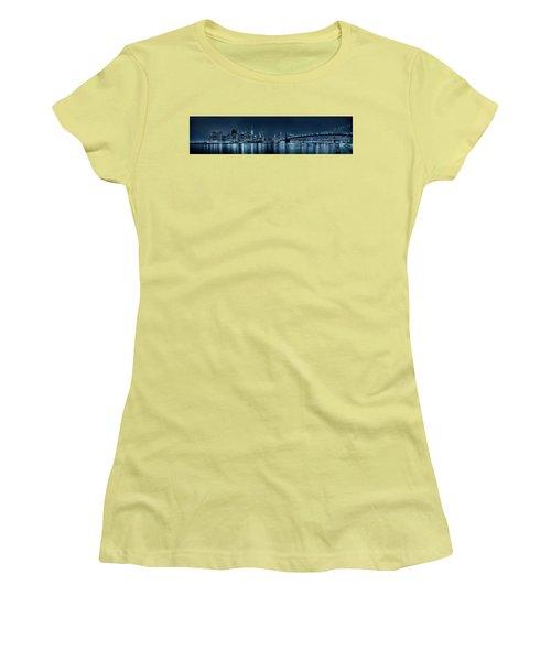 Women's T-Shirt (Junior Cut) featuring the photograph Gotham City Skyline by Sebastien Coursol