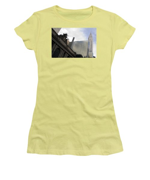 Grand Central And The Chrysler Building Women's T-Shirt (Junior Cut) by Michael Dorn