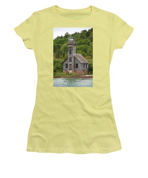 Women's T-Shirt (Junior Cut) featuring the photograph Grand Island East Channel Lighthouse #6664 by Mark J Seefeldt