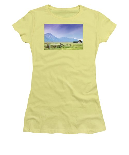 Women's T-Shirt (Junior Cut) featuring the photograph Grand Teton Homestead by Dawn Romine