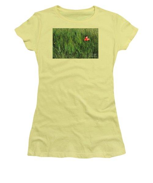 Grassland And Red Poppy Flower 2 Women's T-Shirt (Junior Cut) by Jean Bernard Roussilhe