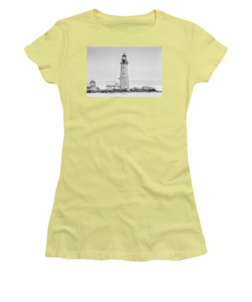 Graves Lighthouse- Boston, Ma - Black And White Women's T-Shirt (Athletic Fit)