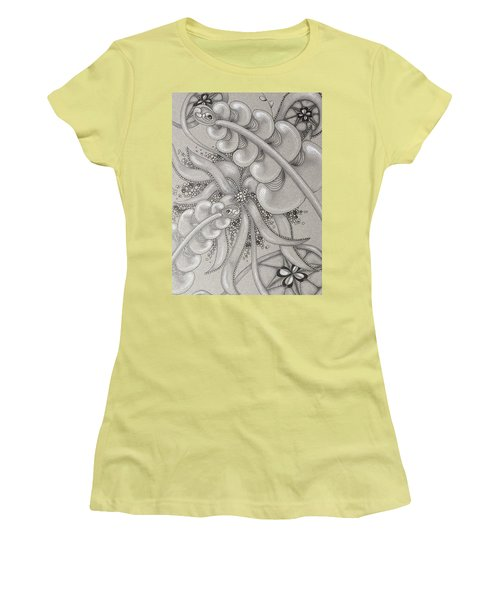 Gray Garden Explosion Women's T-Shirt (Junior Cut) by Jan Steinle