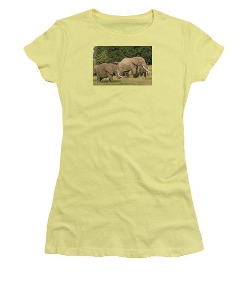 Women's T-Shirt (Junior Cut) featuring the photograph Grazing Elephants by Gary Hall