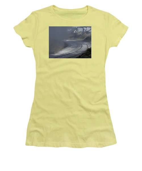 Great Aletsch Glacier In The Clouds. Canton Of Valais, Switzerland. Women's T-Shirt (Athletic Fit)
