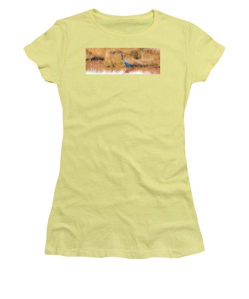 Great Blue Heron Women's T-Shirt (Junior Cut) by Marion Johnson
