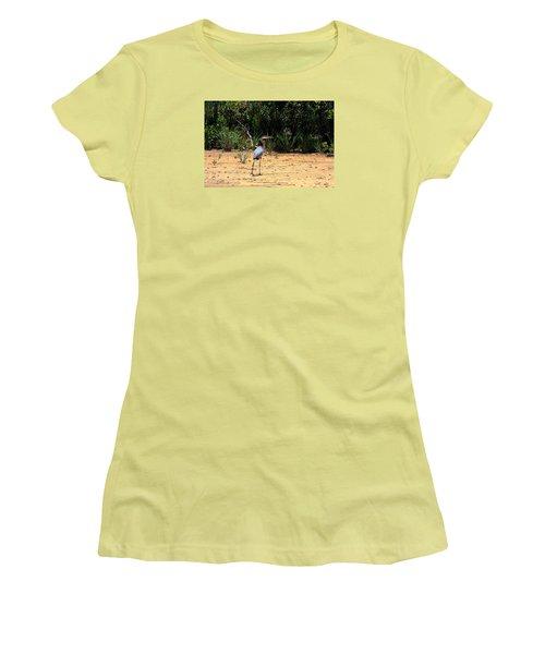 Women's T-Shirt (Junior Cut) featuring the photograph Great Blue Heron On Beach by Sheila Brown