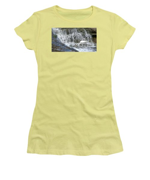 Great Egret Hunting At Waterfall - Digitalart Painting 1 Women's T-Shirt (Athletic Fit)