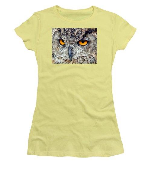 Great Horned Owl Closeup Women's T-Shirt (Junior Cut) by Jim Fitzpatrick