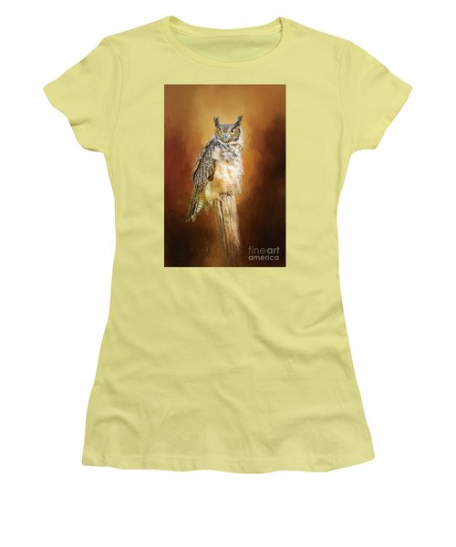 Great Horned Owl In Autumn Women's T-Shirt (Athletic Fit)