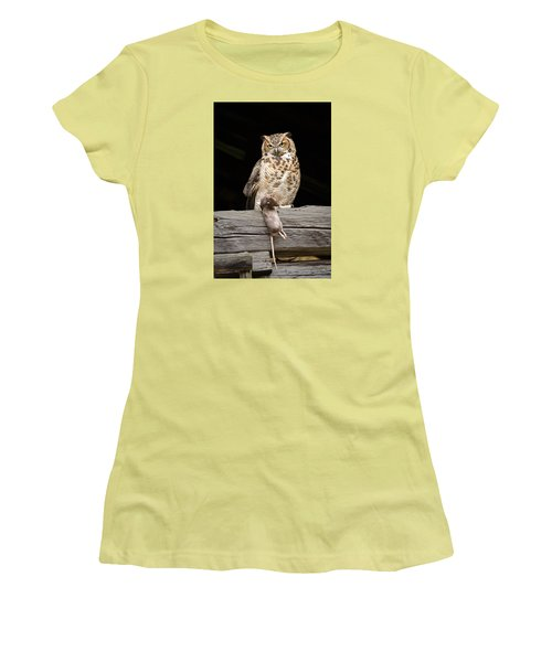 Great Horned Owl With Dinner Women's T-Shirt (Junior Cut) by Tyson and Kathy Smith