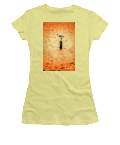 Great White Heron On Currituck Sound Outer Banks Women's T-Shirt (Junior Cut) by Dan Carmichael
