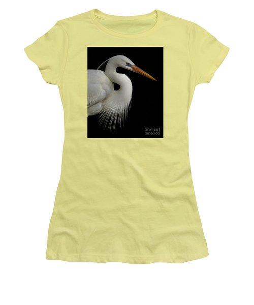 Great White Heron Portrait Women's T-Shirt (Junior Cut) by Myrna Bradshaw