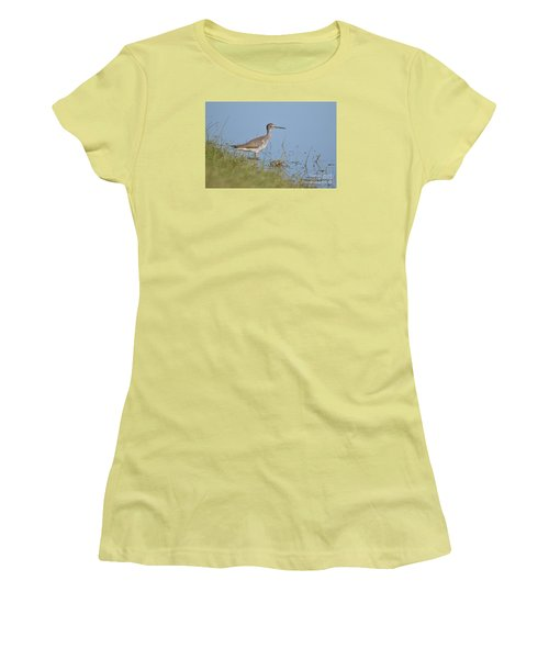 Women's T-Shirt (Junior Cut) featuring the photograph Greater Yellowlegs by Kathy Gibbons