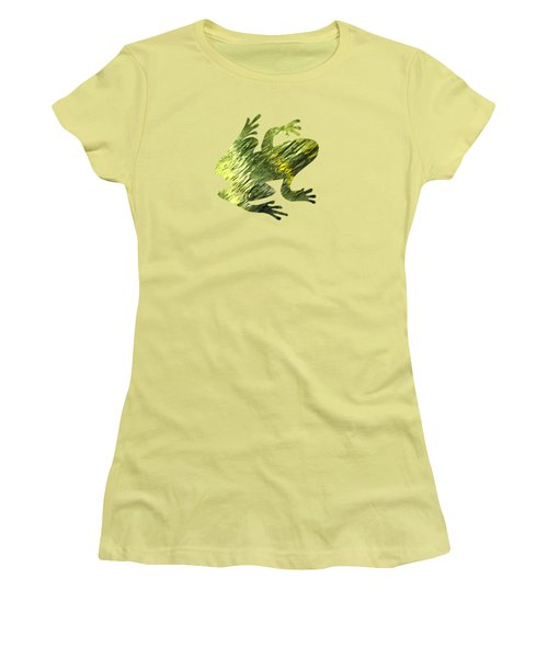 Green Abstract Water Reflection Women's T-Shirt (Junior Cut) by Christina Rollo