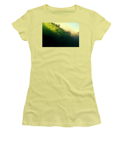 Green And Black Women's T-Shirt (Athletic Fit)