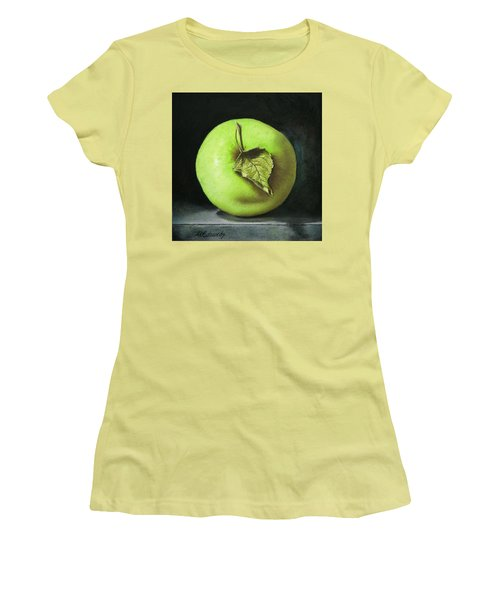Women's T-Shirt (Junior Cut) featuring the painting Green Apple With Leaf by Marna Edwards Flavell