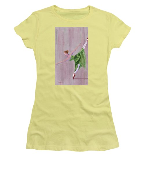 Women's T-Shirt (Athletic Fit) featuring the painting Green Ballerina by Jamie Frier