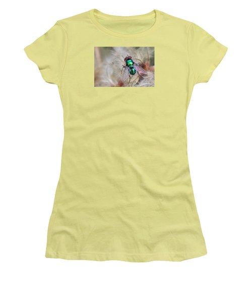 Women's T-Shirt (Junior Cut) featuring the photograph Green Bottle Fly by Jivko Nakev
