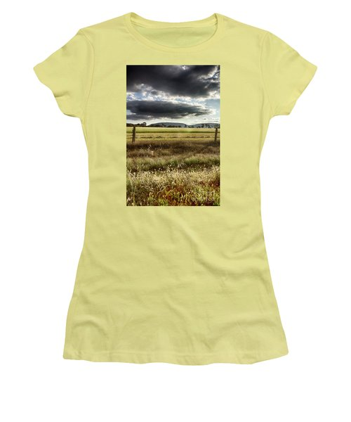 Green Fields 6 Women's T-Shirt (Junior Cut) by Douglas Barnard