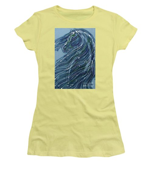 Green Horse With Flying Mane Women's T-Shirt (Athletic Fit)