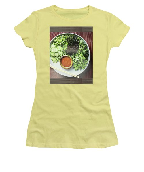 Women's T-Shirt (Athletic Fit) featuring the photograph Green Salad Presentation Chef Cuisine Kitchen Lifestyle Christmas Holidays Birthday Festivals Mom  by Navin Joshi