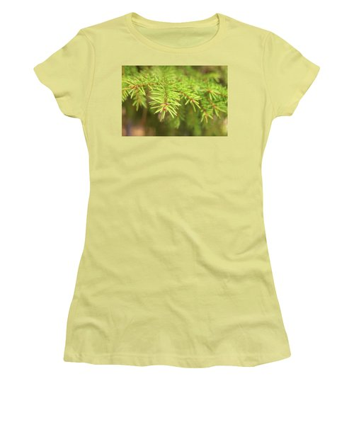 Green Spruce Branch Women's T-Shirt (Junior Cut) by Anton Kalinichev