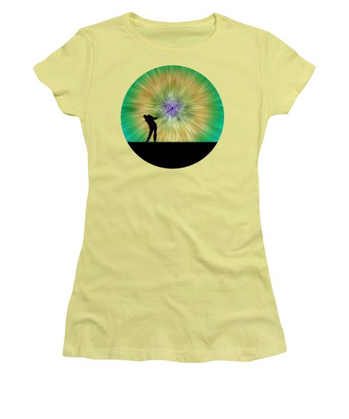Green Tie Dye Golfer Silhouette Women's T-Shirt (Junior Cut) by Phil Perkins