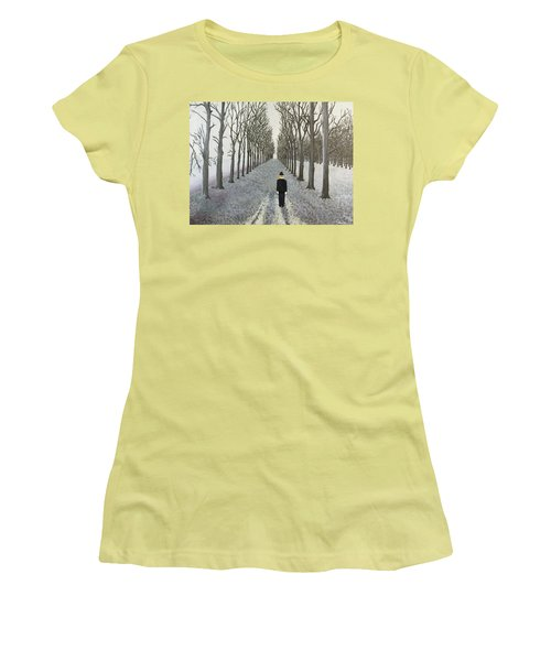 Women's T-Shirt (Junior Cut) featuring the painting Grey Day by Thomas Blood