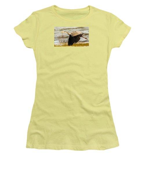 Grey Heron In Flight Women's T-Shirt (Athletic Fit)