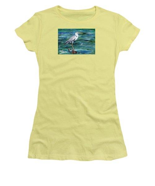 Grey Heron Of Cornwall -painting Women's T-Shirt (Junior Cut) by Veronica Rickard