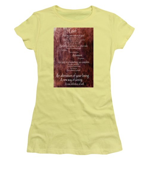 Women's T-Shirt (Junior Cut) featuring the mixed media Grief 3 by Angelina Vick