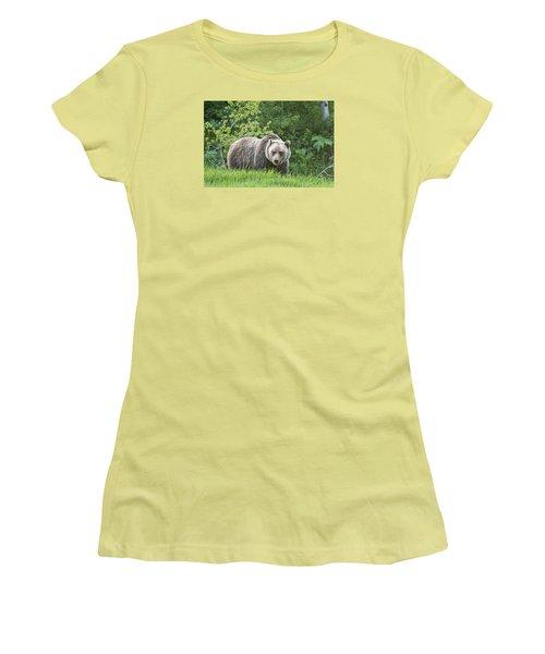 Grizzly Bear Women's T-Shirt (Junior Cut) by Gary Lengyel