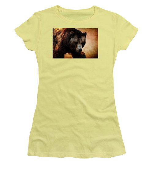 Grizzly Bear Women's T-Shirt (Junior Cut) by Judy Vincent