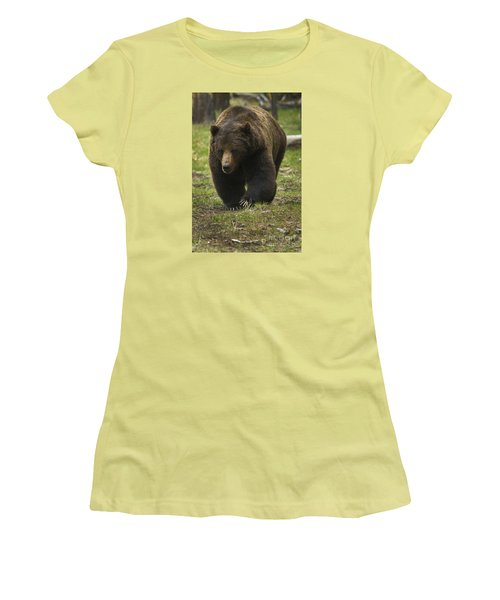 Grizzly Boar-signed-#7914 Women's T-Shirt (Junior Cut) by J L Woody Wooden