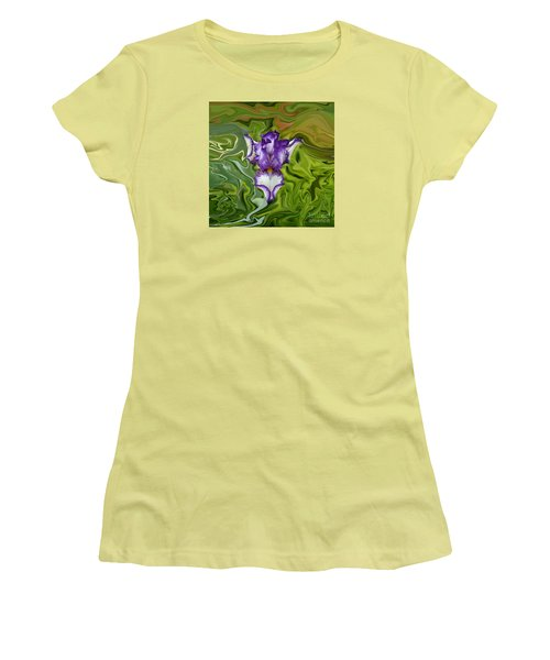 Women's T-Shirt (Junior Cut) featuring the photograph Groovy Purple Iris by Rebecca Margraf