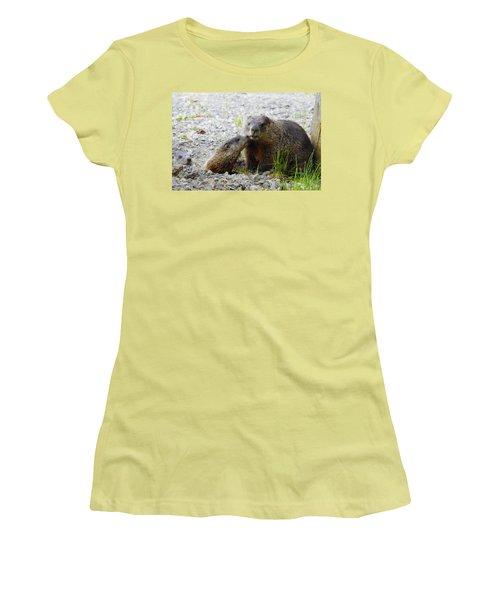 Women's T-Shirt (Junior Cut) featuring the photograph Groundhog Kiss by Betty-Anne McDonald
