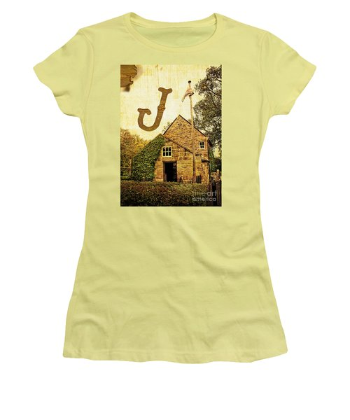 Grungy Melbourne Australia Alphabet Series Letter J Captain Jame Women's T-Shirt (Athletic Fit)
