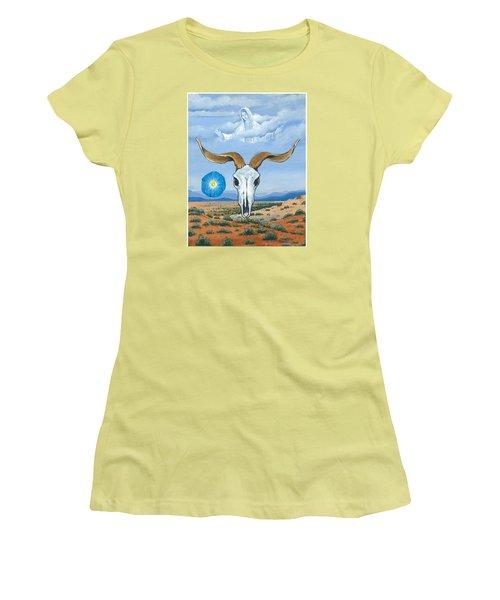 Guadalupe Visits Georgia O'keeffe Women's T-Shirt (Junior Cut) by James Roderick