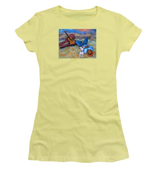 Women's T-Shirt (Athletic Fit) featuring the painting Guitar Doggy And Me In Wine Country by Xueling Zou