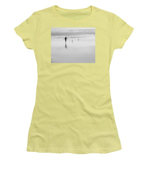 Women's T-Shirt (Athletic Fit) featuring the photograph Gull Chasing 101 by Lora Lee Chapman